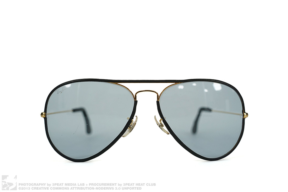 """Vintage """"Leathers"""" Bauch & Laumb Leather Wrapped Aviator Sunglasses, main photo"""
