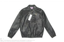 Polka Dot Lined Dollar Sign Leathe Jacket by Swagger