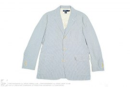Polo Seersucker Striped Cotton Blazer Sport Coat Made In Italy by Ralph Lauren