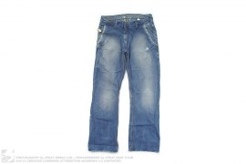 Loose Fint Destructed Jean Vintage Wash Denim by BlueBlood