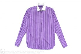 Purple Label White Collar 2 Ply Cotton Button-Up Shirt by Ralph Lauren