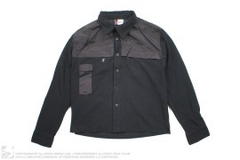 Nylon Accent Fleece Button-Up Shirt by Gsus