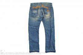 Hip Logo Stitch Distressed Vintage Wash Denim by Replay