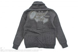 Applique Cursive Logo Knit Cardigan by OriginalFake