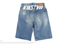 Logo Print Vintage Wash Denim Shorts by KIKS TYO
