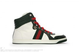 Gucci Stripe Leather High Top Sneakers by Gucci