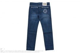 Back Embroidery Logo Leather Trim Format Fit Jeans by Billionaire Italian Couture