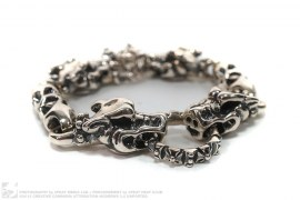 Double Cross Silver Meat Link Bracelet With 4 Gargoyles by Travis Walker