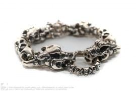 Double Cross Silver Meat Link Bracelet With 4 Gargoyles by Travis Walker