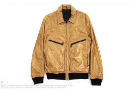 Ribbed Metallic Gold Leather Jacket by Christian Dior