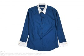 White Collar Button-Up Dress Shirt by Yves Saint Laurent