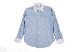 White Collar Striped Chambray Button-Up Dress Shirt by Brooks Brothers