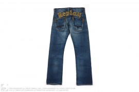 Leather Logo Applique Vintage Wash Denim by Replay