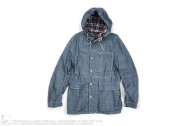 Homme Cotton Denim Flannel Hooded Shirt by Comme des Garcons