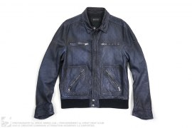 Monogram Embossed Leather Jacket by Gucci