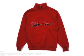 Quarter Zip Cursive Logo Mock Neck Sweatshirt by Reckin Crew