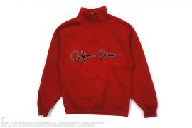 Quarter Zip Cursive Logo Mock Neck Sweatshirt by Reckin Crew