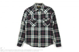 Western Cut Plaid Button Down Shirt by Lee Japan