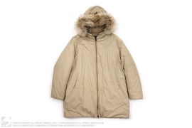 Raccoon Fur Trim Hooded Long Down Jacket by Prada