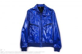 Cobalt Metallic Patent Leather Runway Jacket by Christian Dior