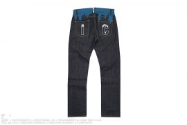 IC Embroidered Drip Raw Denim Jeans by BBC/Ice Cream