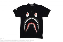 WGM Print Solid Shark Pique Polo Shirt by A Bathing Ape