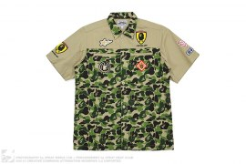 ABC Camo Applique Short Sleeve Button-up by A Bathing Ape x Ferrari
