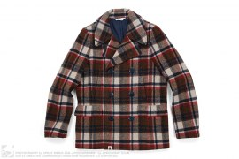 Bape Check Plaid Wool Peacoat by A Bathing Ape