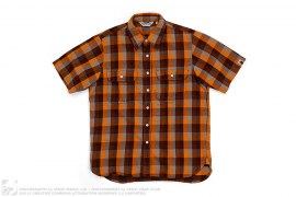 Short Sleeve Plaid Flannel Button Down Shirt by A Bathing Ape