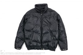 Quilted Bomber Leather Down Jacket by A Bathing Ape
