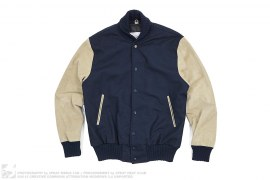 Suede Sleeve Melton Wool High Collar Varsity Jacket by House of Billiam