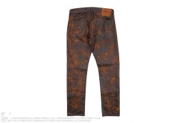 Distressed Leather Look Coated Cotton Denim by Ralph Lauren