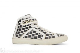 3-D Cube Abstract-Print Leather-Piped High Top Sneakers by Pierre Hardy