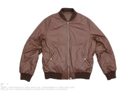 Reversible MA1 Leather Down Bomber Jacket by A Bathing Ape