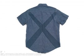 X Back Chambray Oxford Short Sleeve Button-Up Shirt by OriginalFake