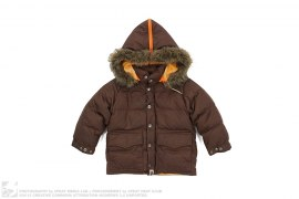 Fur Hood Jacquard Camo Lined Down Jacket by A Bathing Ape