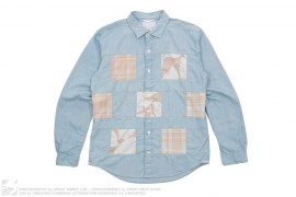 Wind Patchwork Cotton Shirt by Nanamica