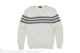 Striped V-Neck Knit Sweater by Justyle