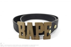 Camo Embossed Leather Logo Belt Buckle by A Bathing Ape