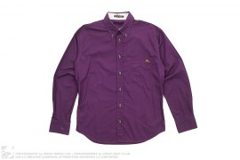 Deluxe Embroidered Seagull Logo Long Sleeve Button Down Shirt by Evisu