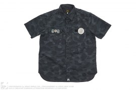 Velcro Applique Color Camo Short Sleeve Button-Up Shirt by A Bathing Ape