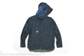 Shark Hooded Chambray Full Button-Up Shirt by A Bathing Ape