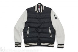Leather Sleeve Puffer Varsity Jacket by Moncler x Jay-Z