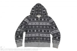 Snow Flake Nordic Pattern Full Zip Hoodie by A Bathing Ape