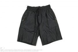 Zip Pockets Leather Shorts by Laer