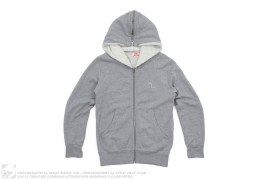 Spilt Fur Hood Zip Up Sweatshirt by Evisu
