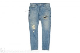 mens jeans Distressed Selvedge Washed Denim by Mr.Completely