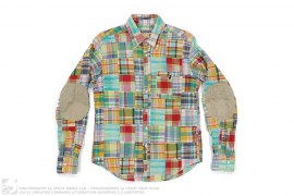 Patchwork Apehead Elbow Patch Button-Up by A Bathing Ape