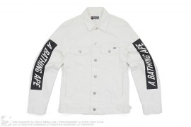 Block Print Logo Sleeve Trucker Jacket by A Bathing Ape
