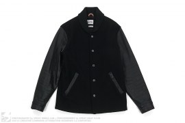 Leather Sleeve Wool Varsity Jacket by OriginalFake